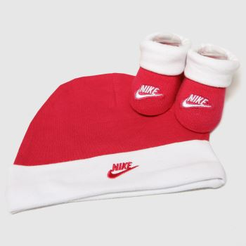 Nike White & Pink Futura Hat And Booties 1pk Socks