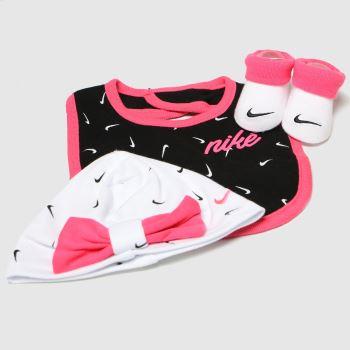 Nike White & Pink Swooshfetti Heart 3pc Set Socks