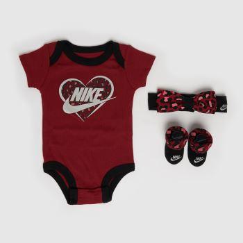 Nike Burgundy Girls Baby 3 Piece Set Socks