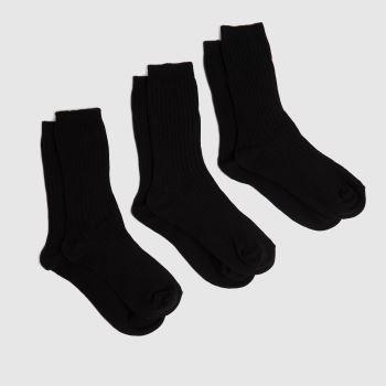 schuh Black Kids Ribbed Socks 3 Pack Socks