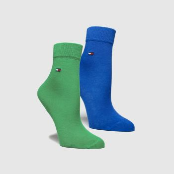 Tommy Hilfiger Navy & Green KIDS BASIC 2PK Socks