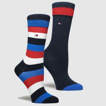 Tommy Hilfiger Navy & Red Kids Basic Stripe 2pk Socks
