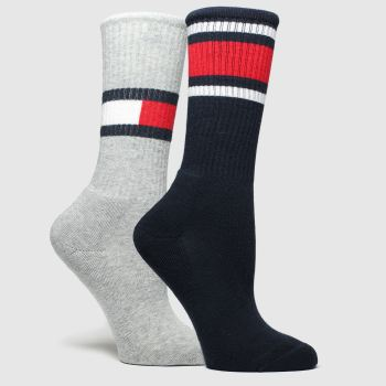 Tommy Hilfiger Grey & Navy Kids Flag 2Pk Socks