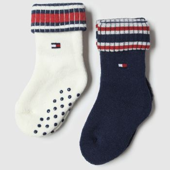 accessories tommy hilfiger navy & red baby sock full plush 2pk