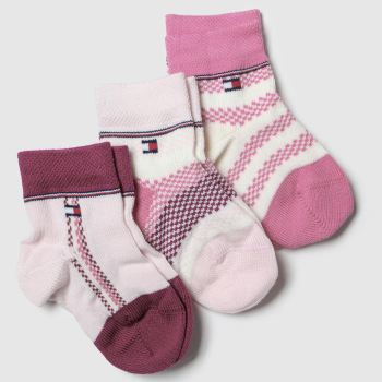 Tommy Hilfiger Pink Newborn Sock Giftbox 3pk Socks