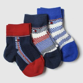 Tommy Hilfiger Navy & Red Newborn Sock Giftbox 3pk Socks
