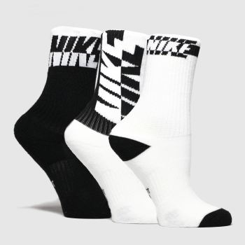 Nike White & Black Kids Evrydy Cush Crew 3Pack Socks