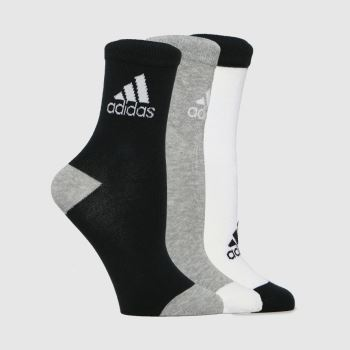 adidas White & Black Kids Lk Ankle S 3pk Socks