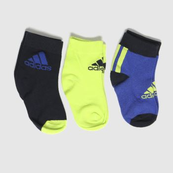 adidas Navy & Green Kids Lk Ankle S 3pk Socks