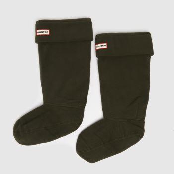 Hunter Dark Green Fleece Welly 1 Pack Socks