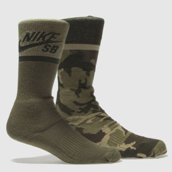 ACCESSORIES NIKE SB KHAKI ENERGY CREW SOCKS 2 PACK