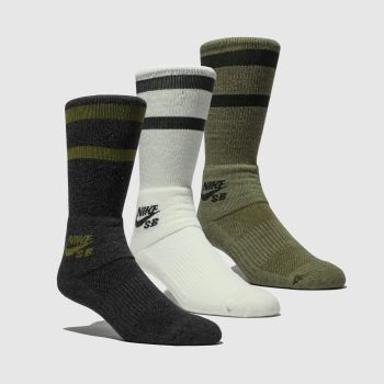 Nike Sb Black & Green Crew 3 Pk Socks