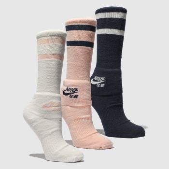 0ed93cd702 Nike Sb Black   pink Crew Socks 3 Pk Socks