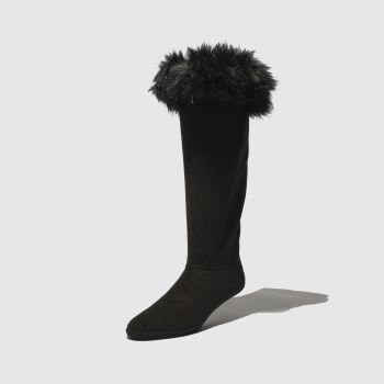 Hunter Black Faux Fur Cuff Boot Socks