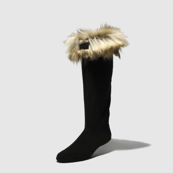 Hunter Steingrau-Schwarz Faux Fur Cuff Boot Socken