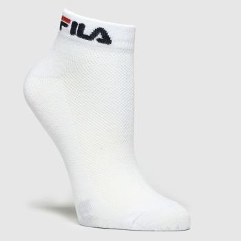 Fila White & Black Trainer Liner 2pk Socks