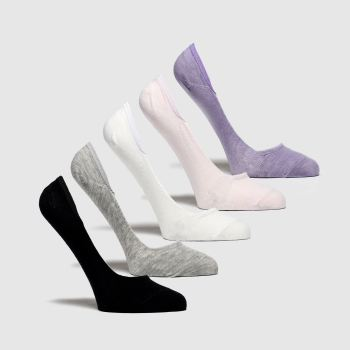 Schuh Purple & White S/m Casual 5pk c2namevalue::Socks