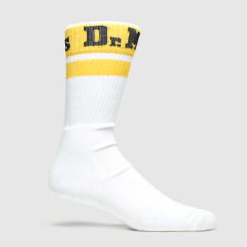 Dr Martens White & Yellow Athletic Logo 1pk Socks