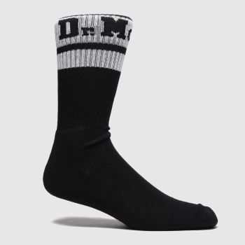 Dr Martens Black & White Athletic Logo Sock 1pk Socks