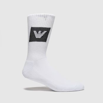 EMPORIO ARMANI White & Black Short Socks 1pk Socks