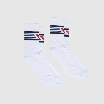 EMPORIO ARMANI White & Navy Short Sock 2pk Socks