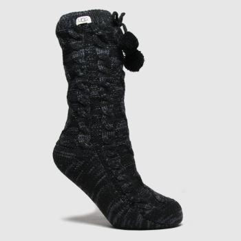 UGG Black Pom Pom Fleece Sock 1pk Socks