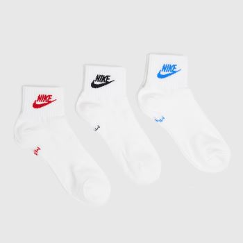 Nike White Essential Ankle 3 Pack Socks