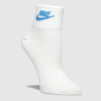 Nike White & Pl Blue Essential Ankle 3pk Socks