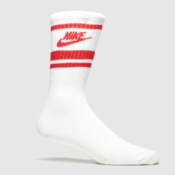 Nike White & Red Essential Stripe 3pk Socks
