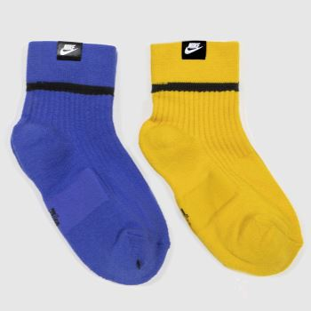 Nike Blue & Yellow Essential Socks 2pk c2namevalue::Socks