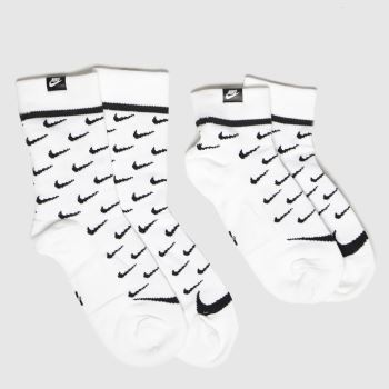 Nike White & Black Snkr Sox 2pk Socks