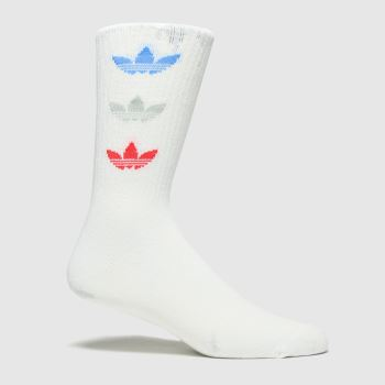 adidas White & Red Tri Thn Rbd Crew 2pk Socks