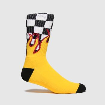 Vans White & Orange Flame Check Crew 1pk Socks