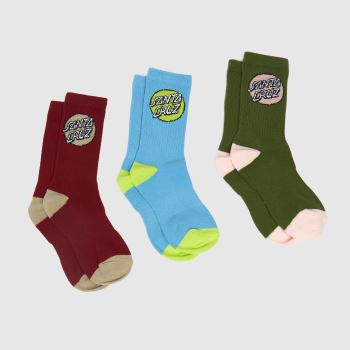 Santa Cruz Multi Pop Dot Socks 3pk Socks