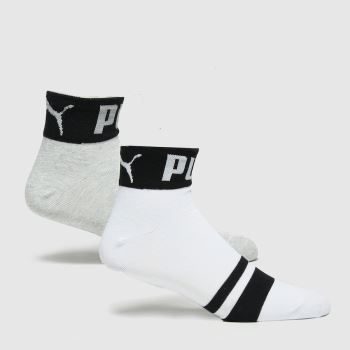 PUMA Multi Seasonal Logo Quarter 2pk Socks