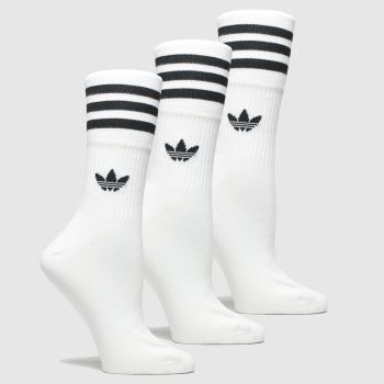 Adidas White & Black Mid Cut Crew 3 Pk Socks