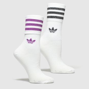 Adidas Weiß-Violett Mid Cut Glitter 2pk c2namevalue::Socken