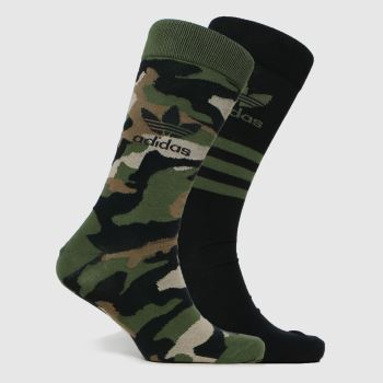 adidas Khaki Camo Crew Sock 2pk Socks