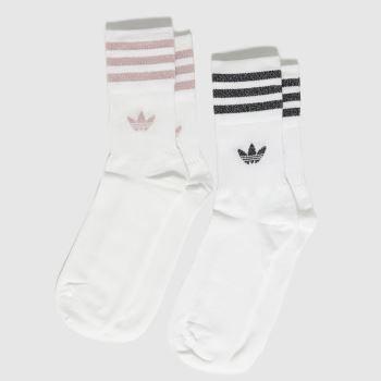 adidas White & Pink Mid Cut Glt Sck 2pk Socks