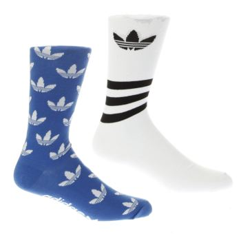 ACCESSORIES ADIDAS BLUE & WHITE T CREW SOCK 2 PACK