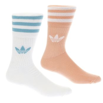 ACCESSORIES ADIDAS PINK & WHITE SOLID CREW SOCK 2 PACK