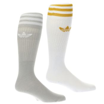 ACCESSORIES ADIDAS GREY & WHITE SOLID CREW SOCK 2 PACK
