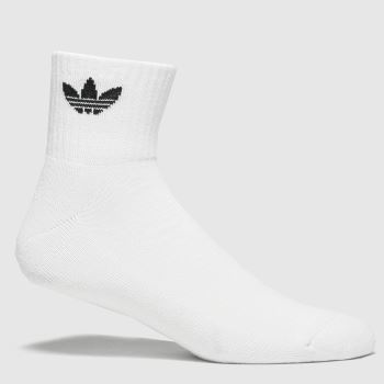 adidas White & Black Mid Ankle 3pk Socks