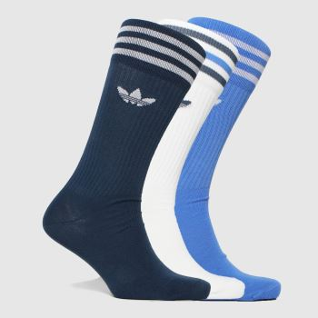 adidas Blue Solid Crew Sock 3pk Socks