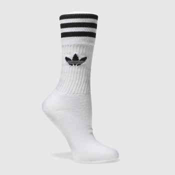 adidas White & Black Solid Crew 3pk 5.5-8 Socks