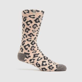 UGG Pink & Black Leslie Crew Socks