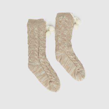 UGG Naturfarben Pom Pom Fleece Crew Socken