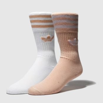 Adidas White & Pink Solid Crew 2 Pack Socks