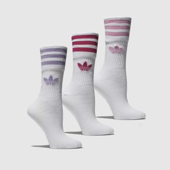 Adidas White & Pink Mid Cut Solid Crew 3 Pack Socks