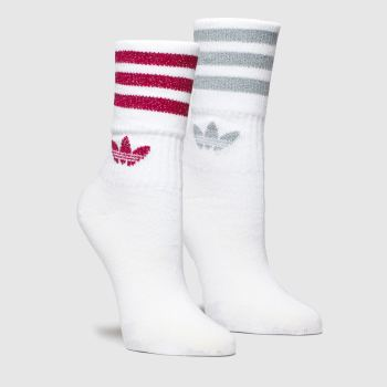 Adidas White & Pink Mid Cut Glitter Sock 2pk c2namevalue::Socks